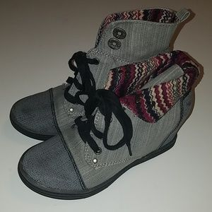 Blowfish Gray Denim Ankle Lace Up Wedge Booties